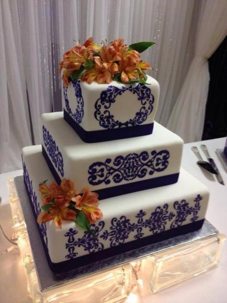 Blue & Orange Wedding Cake - Bride\'s Cake Gallery